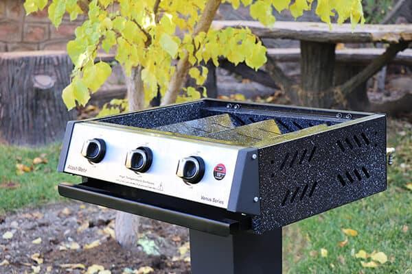 کباب پز گازی ونوس 100 با پایه آتش مهر سایز 60 سانت با رنگ مشکی