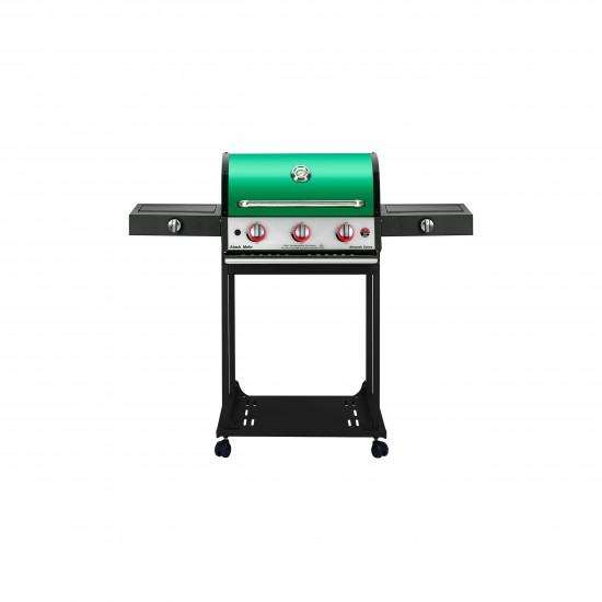 باربیکیو گازی با اجاق بغل تابشی و اجاق خوراک پزی افروزش ۲۰۲ (پایه دار)-۶۰سانتی-نمای رو به رو-سبز-آتش مهر