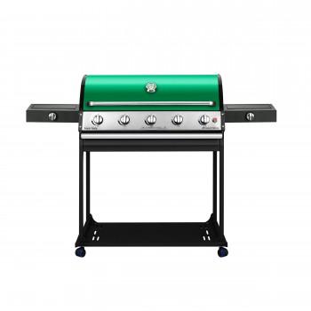 باربیکیو گازی با اجاق بغل تابشی و اجاق خوراک پزی افروزش ۲۰۲ (پایه دار)-۹۰سانتی-نمای رو به رو-سبز-آتش مهر